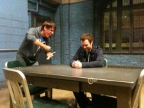 Me grilling Dan McD in the Law & Order SVU's interrogation room (my buddy MikeC works on the show and let us look around the set!)
