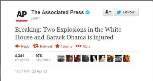 AP Hoax Tweet and a bunch of lemmings retweeting and favoriting it