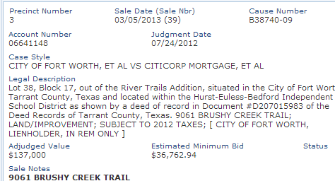 9061 Brushy Creek notice by Hull Financial Planning