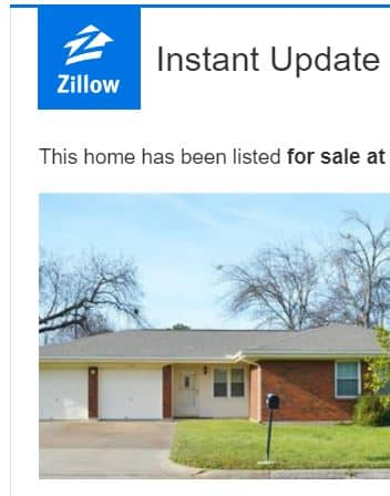 Zillow Saved Search E-Mail Notification by Dallas Financial Planner Hull Financial Planning