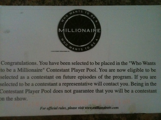 Who Wants to be a Millionaire notification by Hull Financial Planning